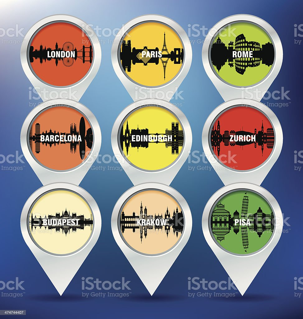 Map pins with London, Paris, Rome, Barcelona, Edinburgh, Zurich, royalty-free stock vector art