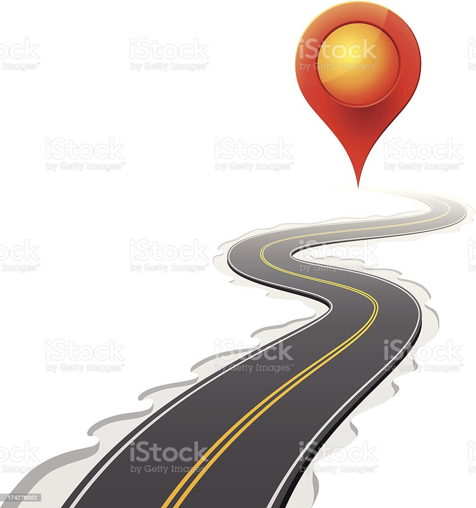Map Pointer and Curved Road vector art illustration