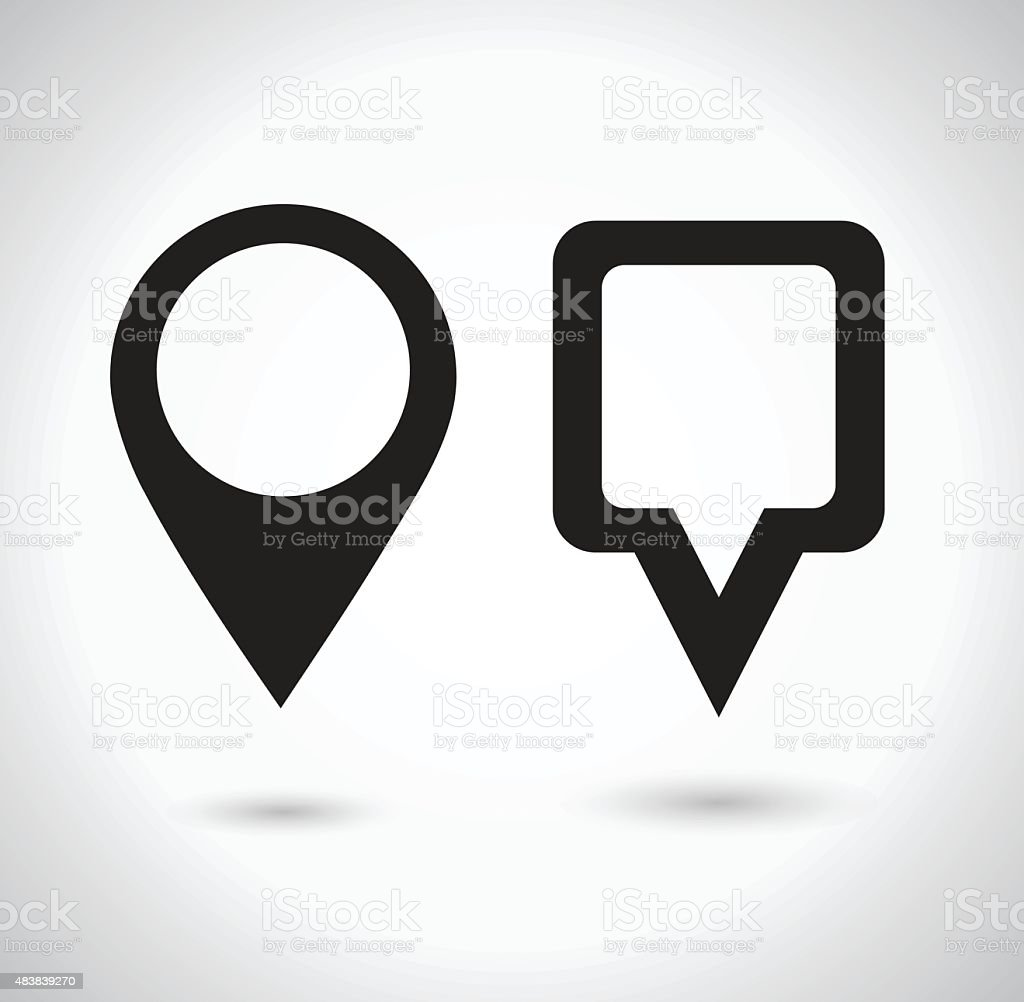 Map Pointer Icon. Location marker symbol. Round and square shape vector art illustration