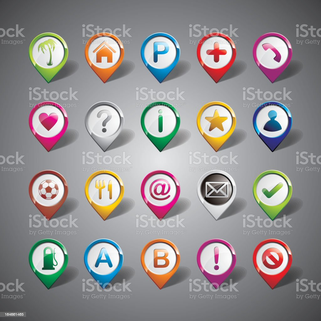 Map Pointer icon set on gray background. royalty-free stock vector art