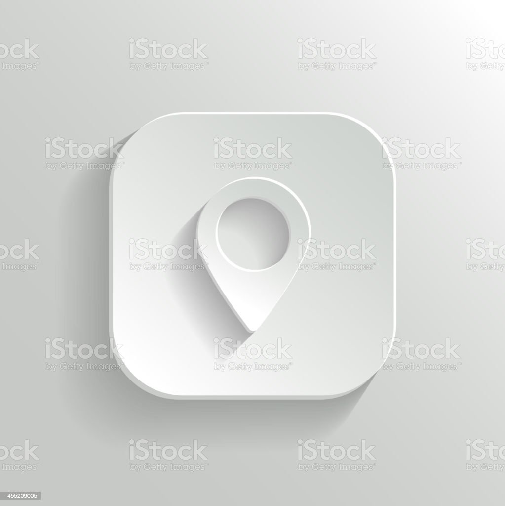 Map pointer icon - vector white app button vector art illustration