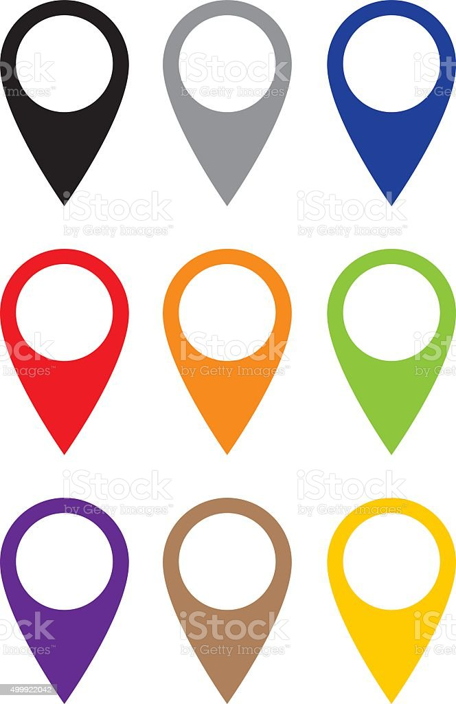 Map Pointer Set vector art illustration