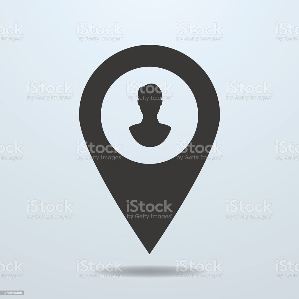 Map pointer with a male symbol vector art illustration