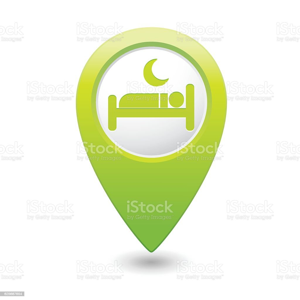 Map pointer with hotel icon vector art illustration
