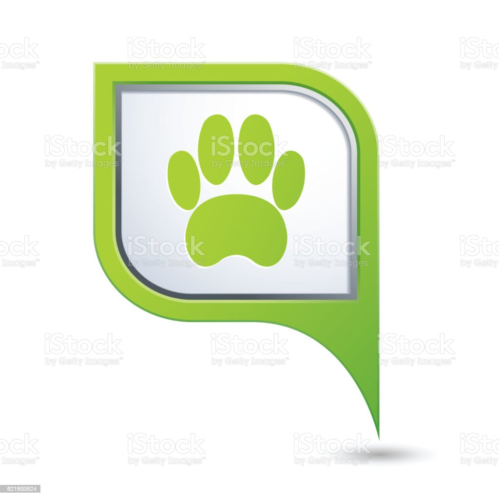 Map pointer with pet paw icon vector art illustration
