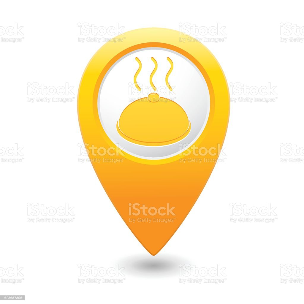 Map pointer with restaurant icon vector art illustration