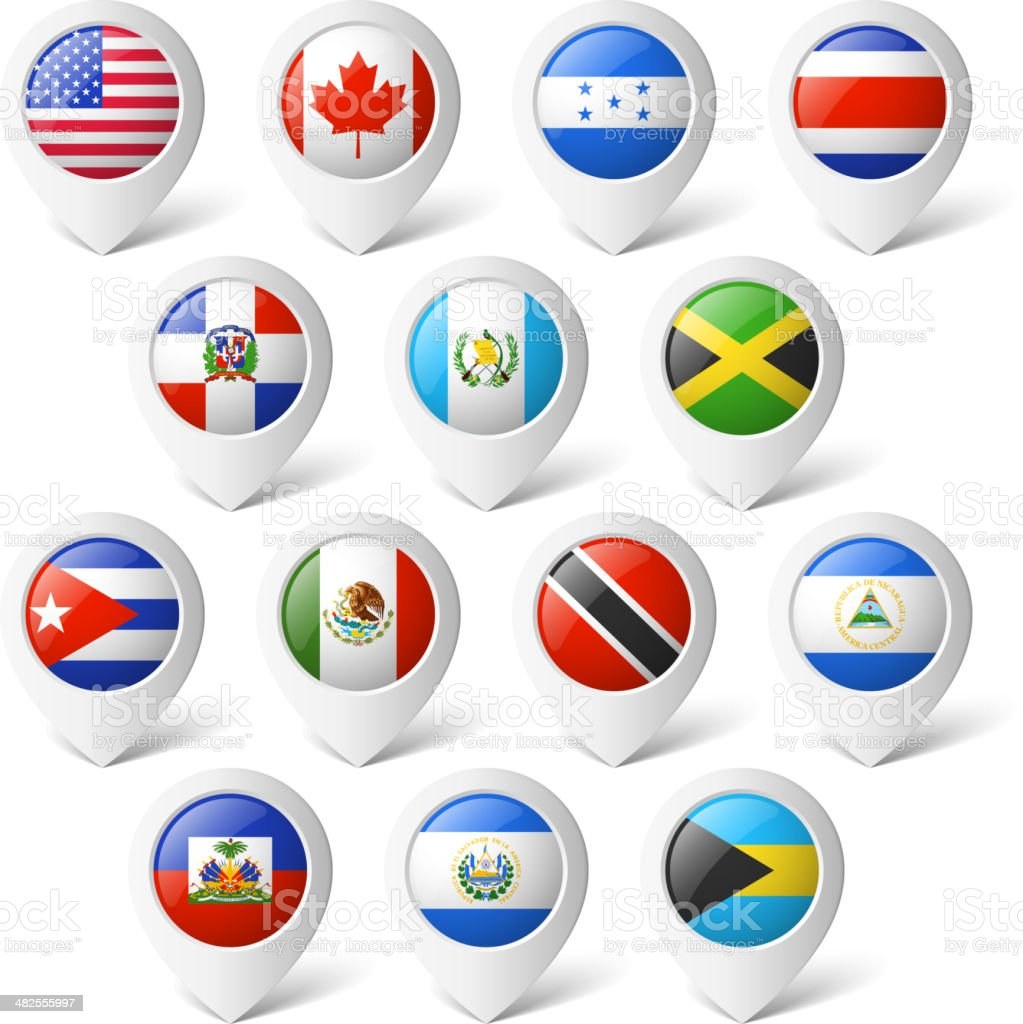 Map pointers with flags. North America. royalty-free stock vector art