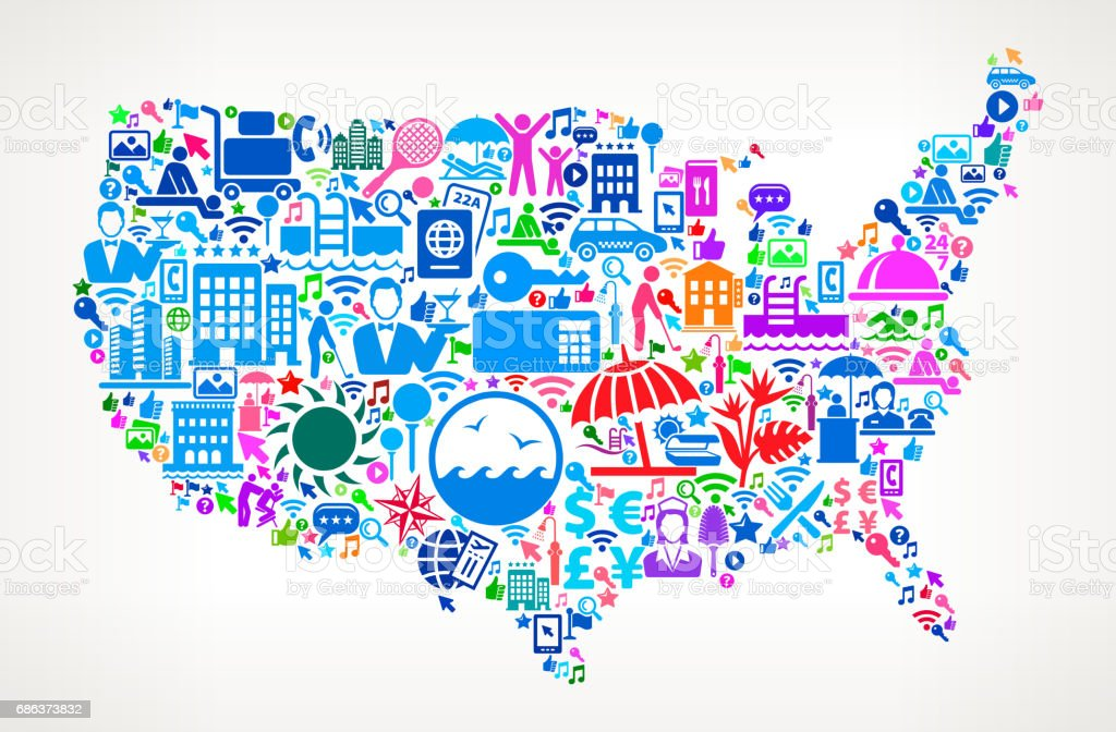 Us Map Resort Hotel And Hospitality Industry Icons Background - Us hotel map