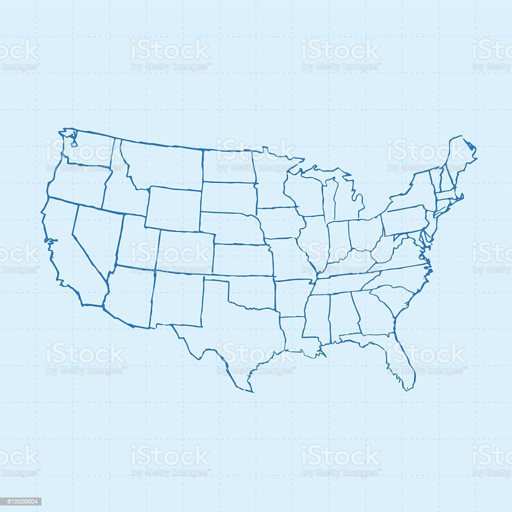 USA map scribbled white on blueprint background vector art illustration
