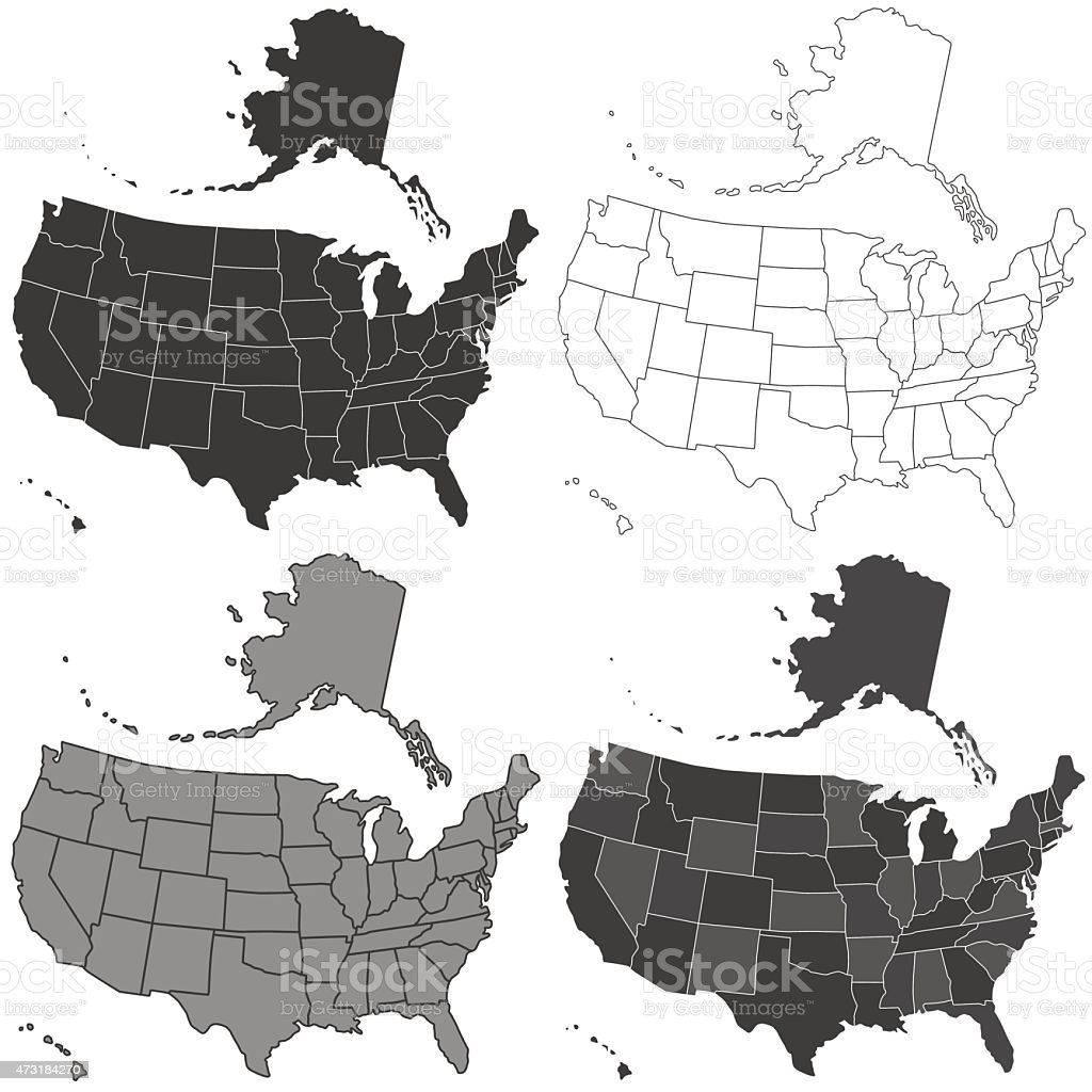 USA map set vector art illustration