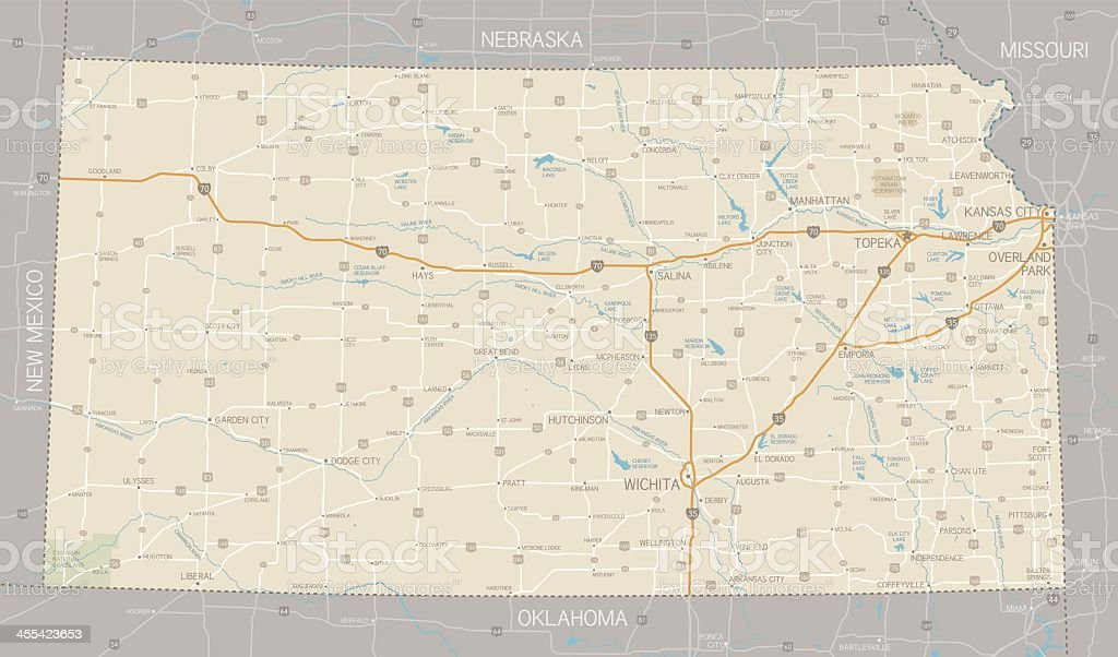 Map showing the roads in Kansas city vector art illustration