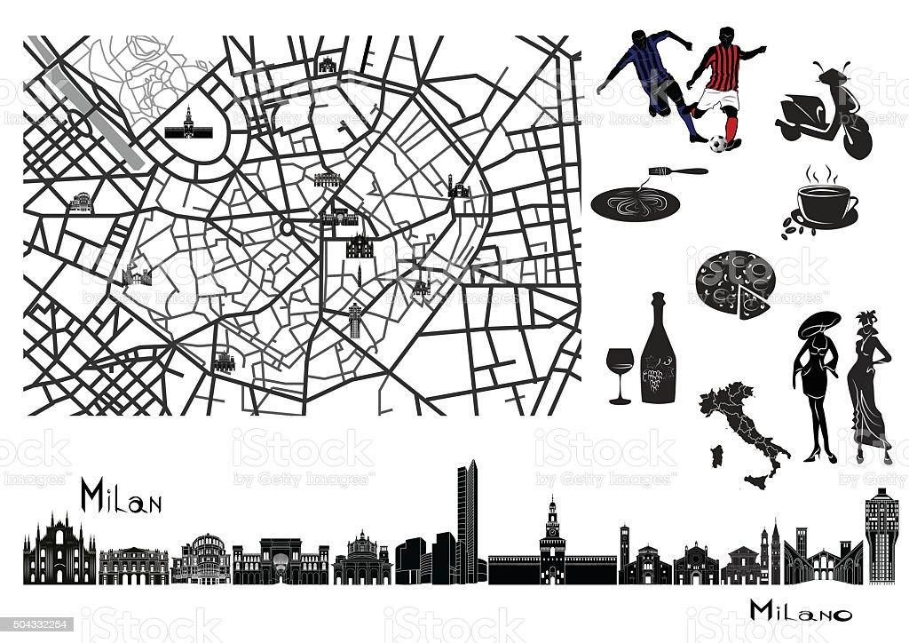 Map, sights  and hallmarks of Milan vector art illustration