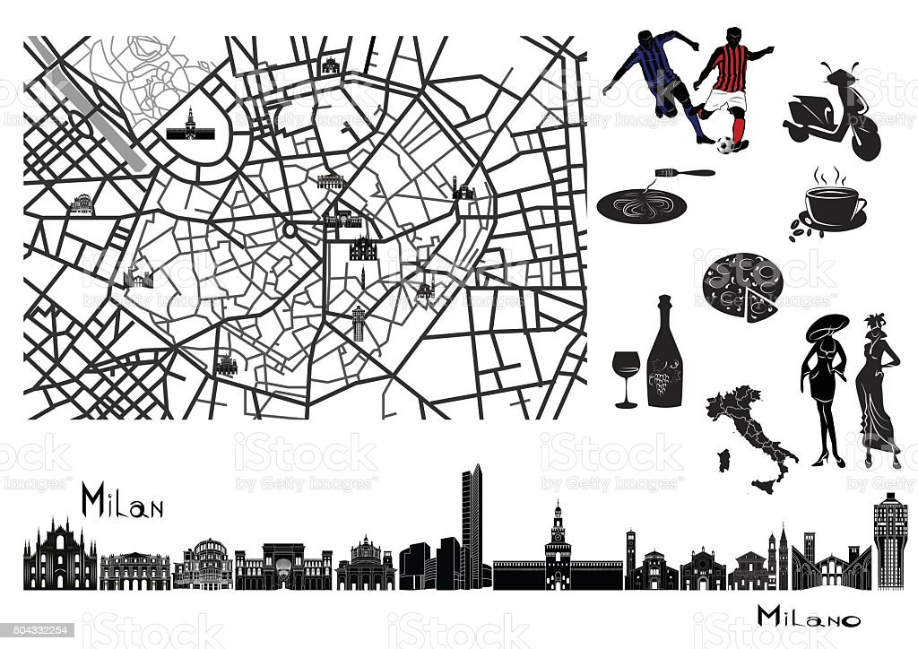 Map, sights  and hallmarks of Milan vector art illustration