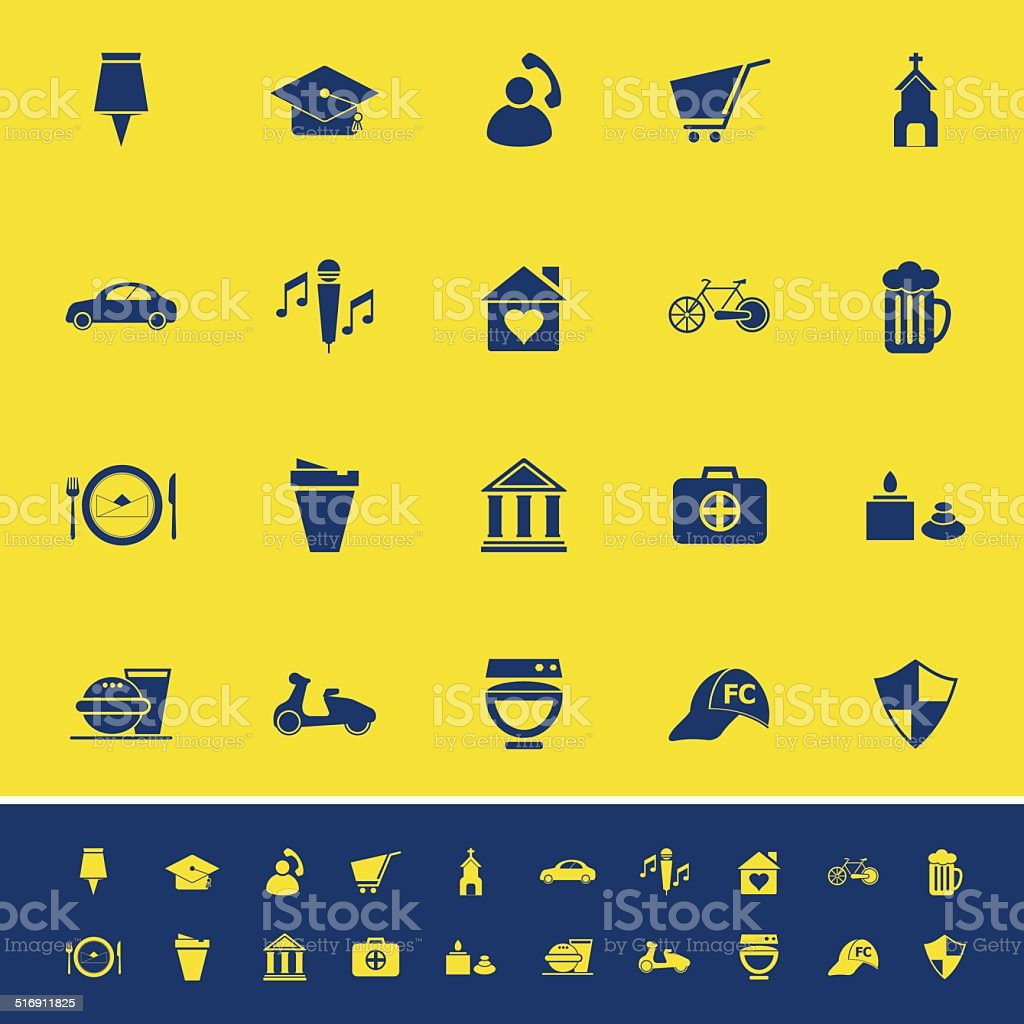 Map sign and symbol color icons on yellow background vector art illustration