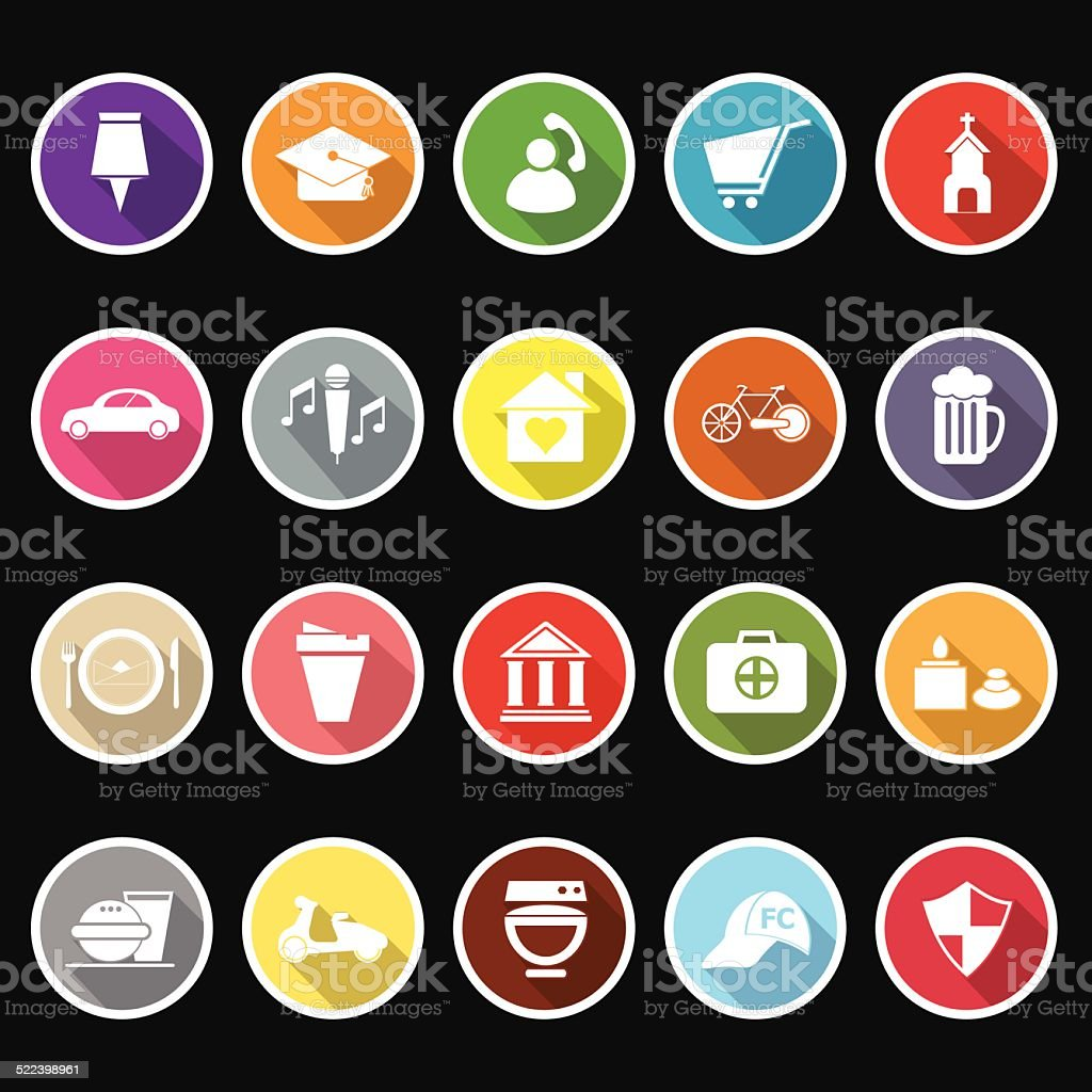 Map sign and symbol flat icons with long shadow vector art illustration