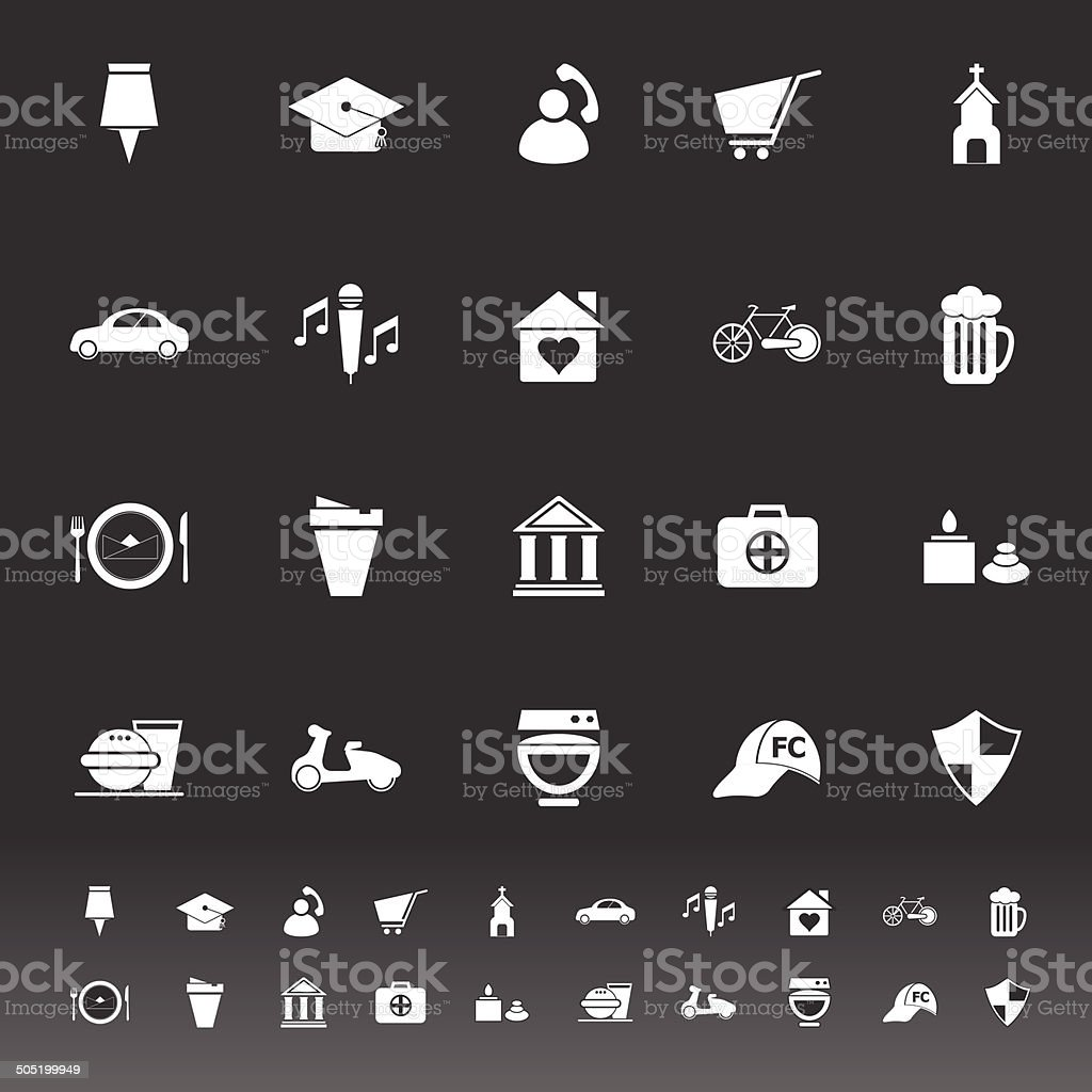 Map sign and symbol icons on gray background vector art illustration