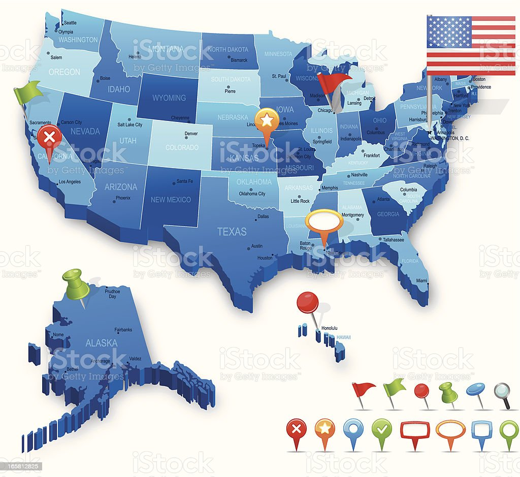 USA 3D map - states, cities, flag and navigation icons vector art illustration