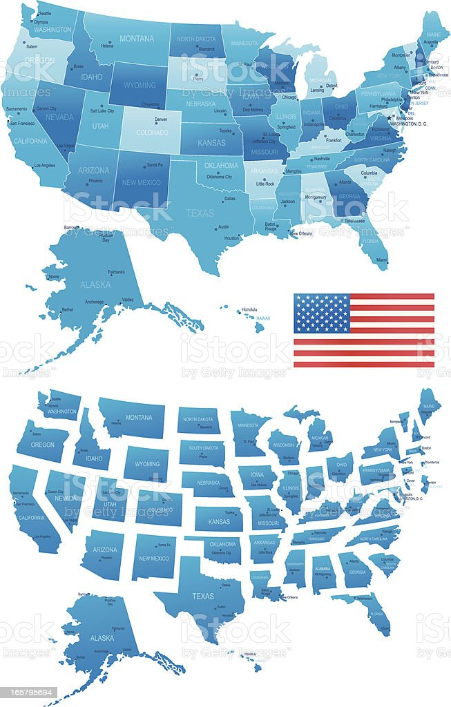 USA map - states, cities, flag royalty-free stock vector art