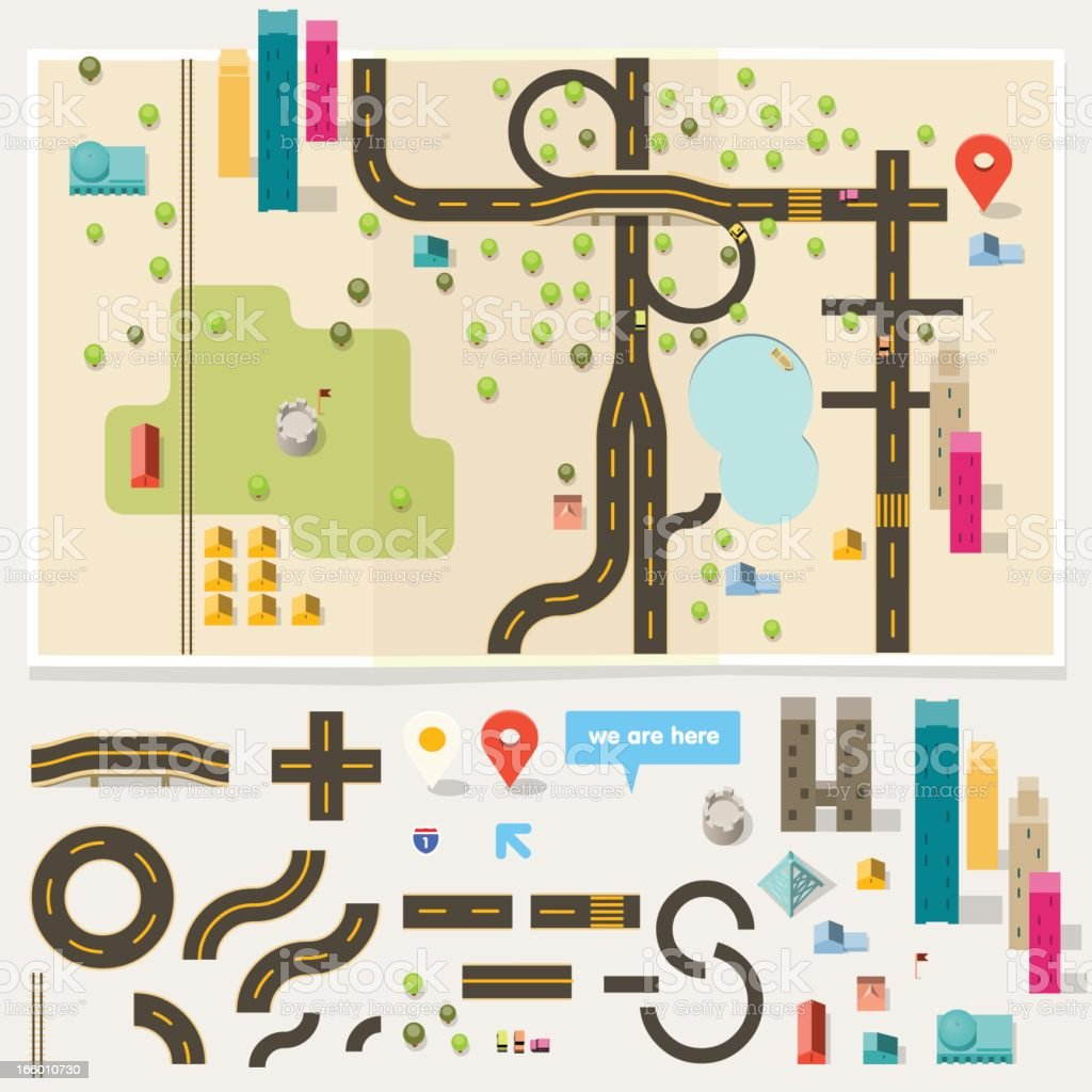 map toolkit vector art illustration