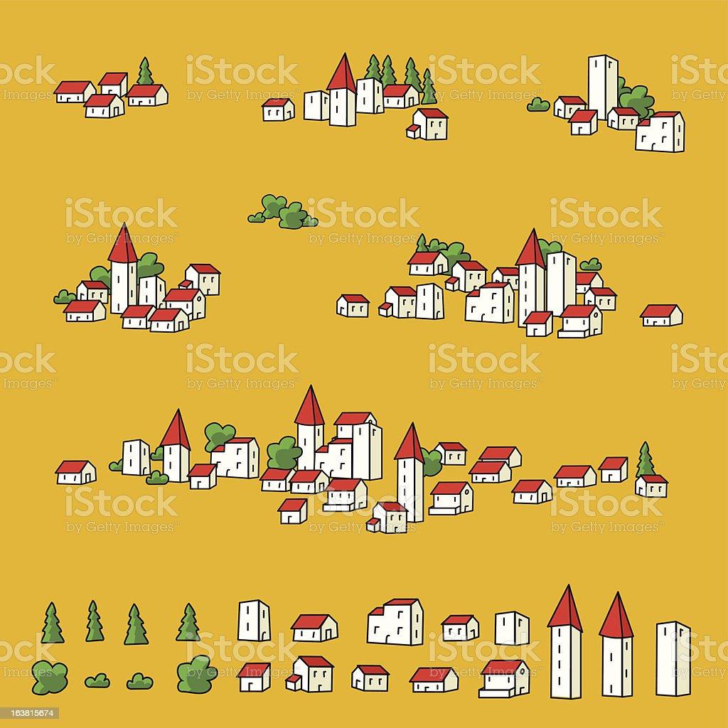 Map towns vector art illustration