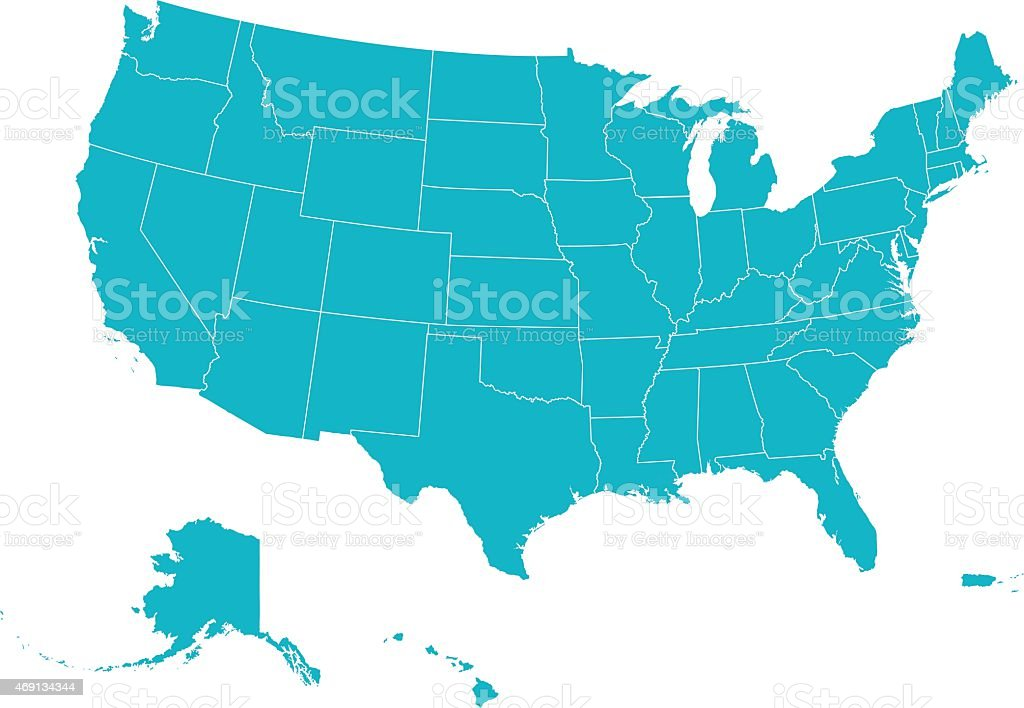 Map United States Of America vector art illustration