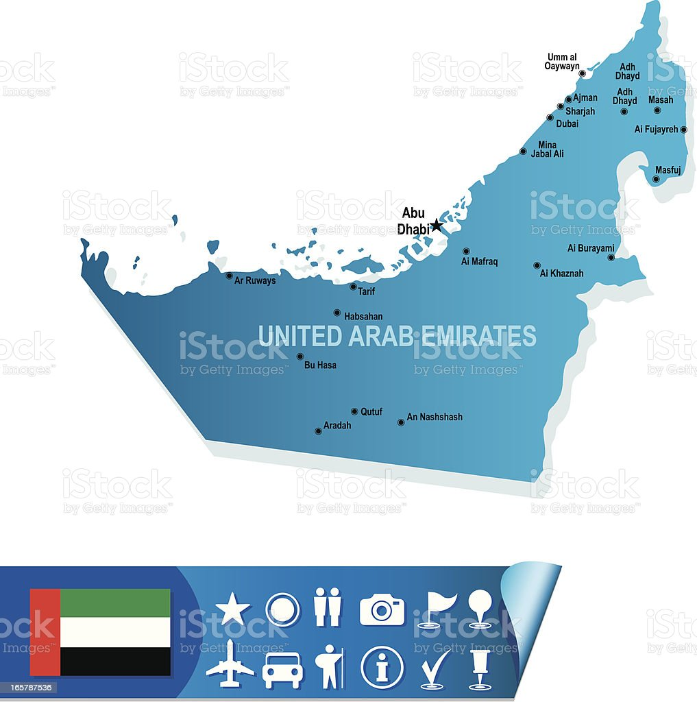 UNITED ARAB EMIRATES map vector art illustration