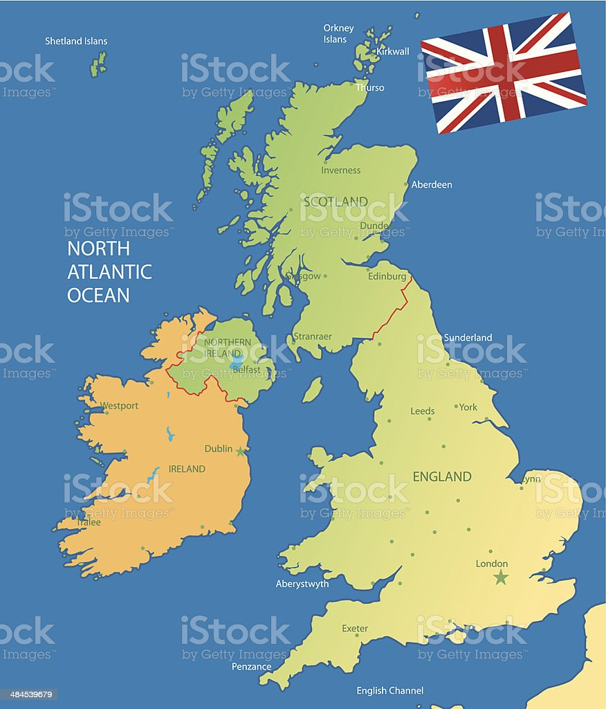 UK map vector art illustration