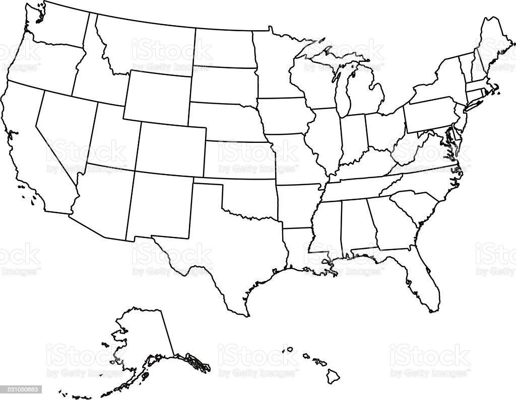 Usa Map Stock Vector Art IStock - Blacka nd white map of hte us
