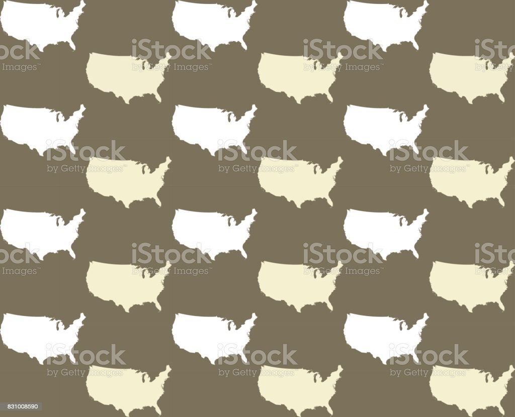 Us Map Vector Outline Illustration In Seamless Patterns Stock - Us map patterns