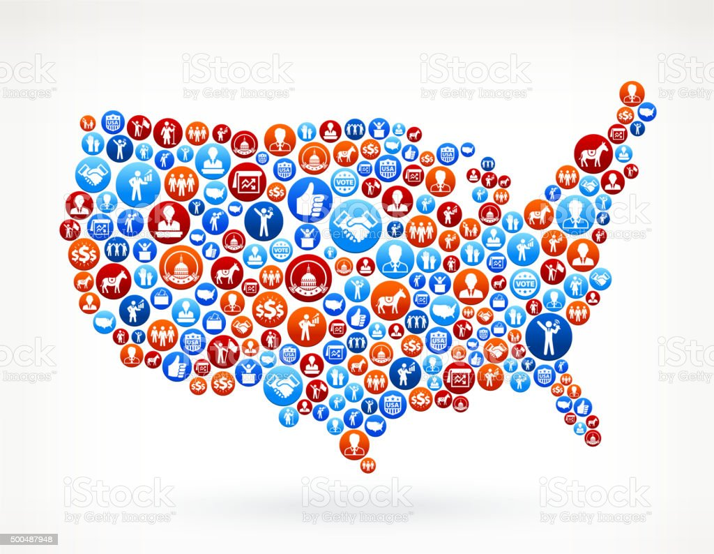 USA Map Vote and Elections USA Patriotic Icon Pattern vector art illustration