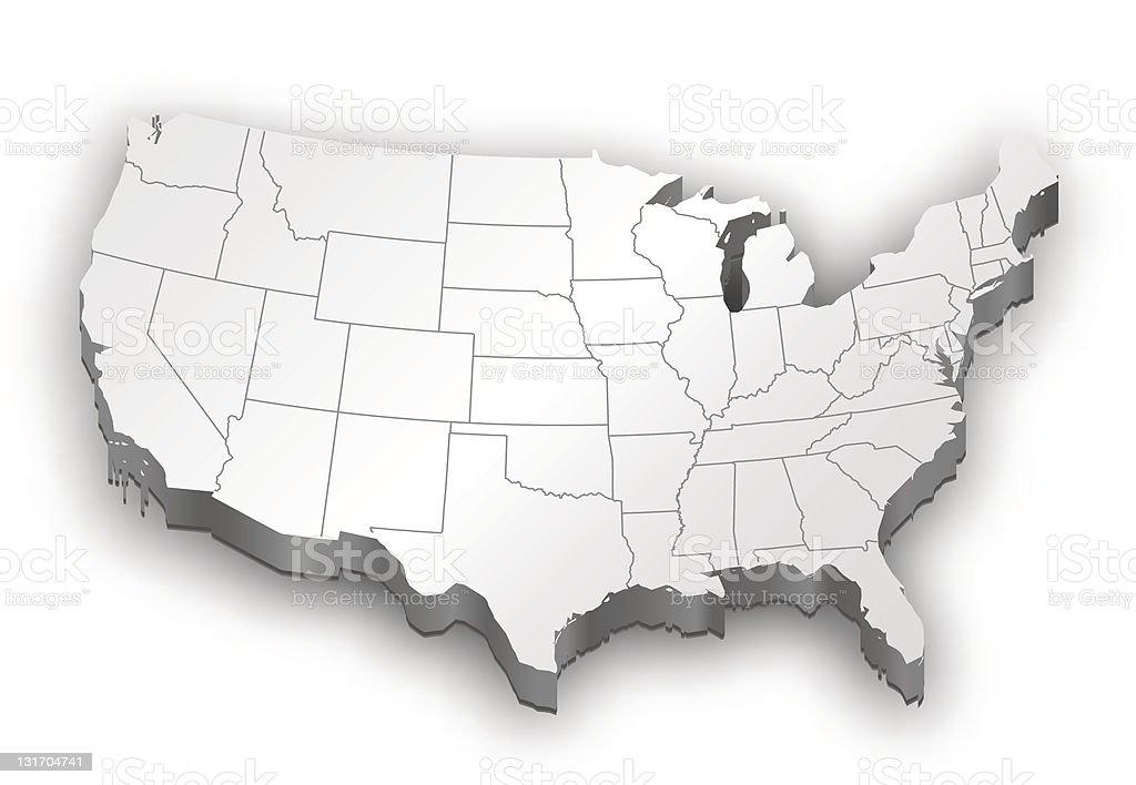 USA map white vector art illustration