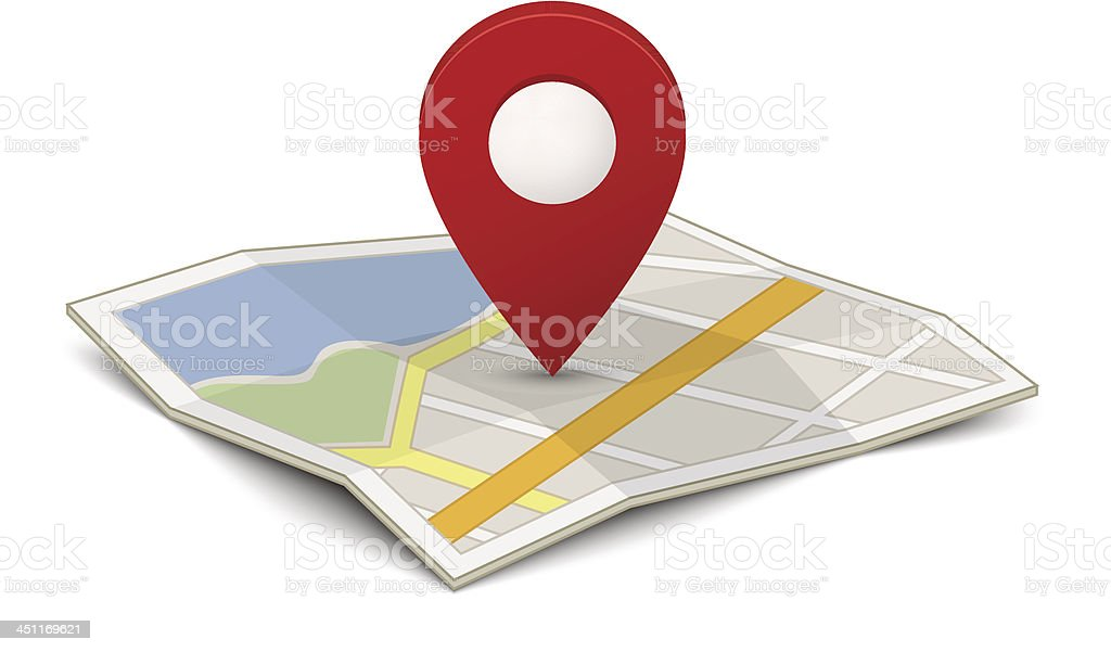 Map with a pin vector art illustration