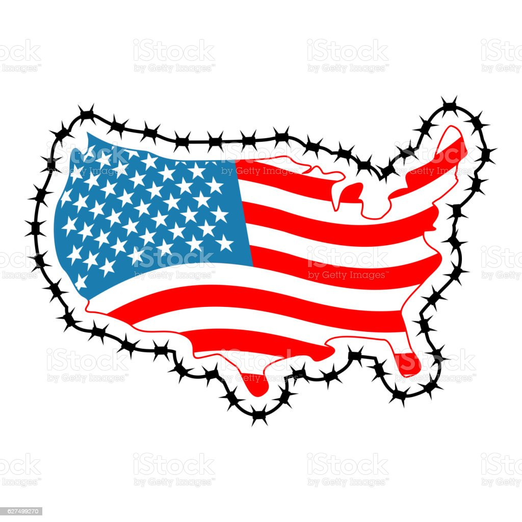 Us Map With Barbed Wire America Closes Border In Relation Stock - Clipart us map border security