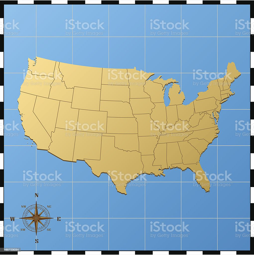 Usa Map With Compass Rose Stock Vector Art IStock - Us map with compass