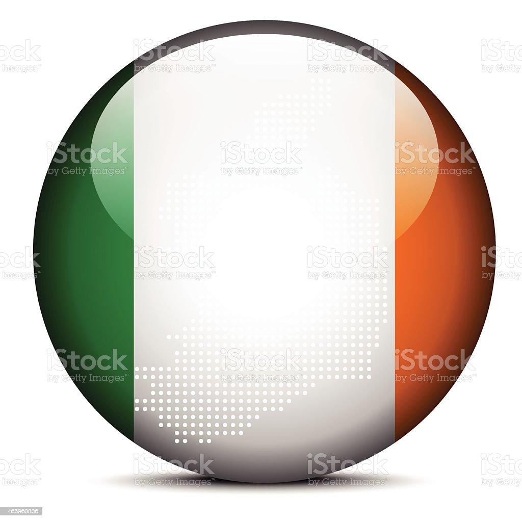 Patrón De Puntos En Mapa Con Bandera Botón De Irlanda Illustracion ...