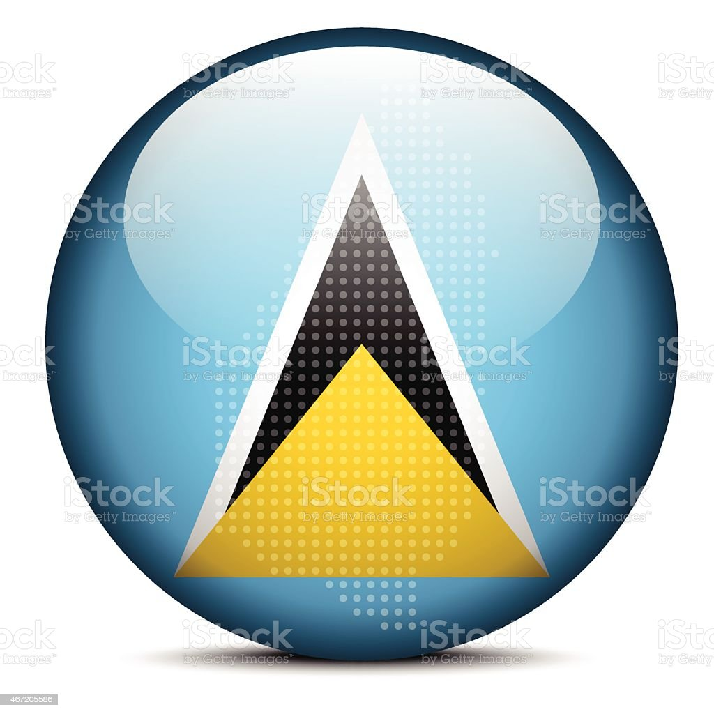 Map with Dot Pattern on flag button of Saint Lucia vector art illustration