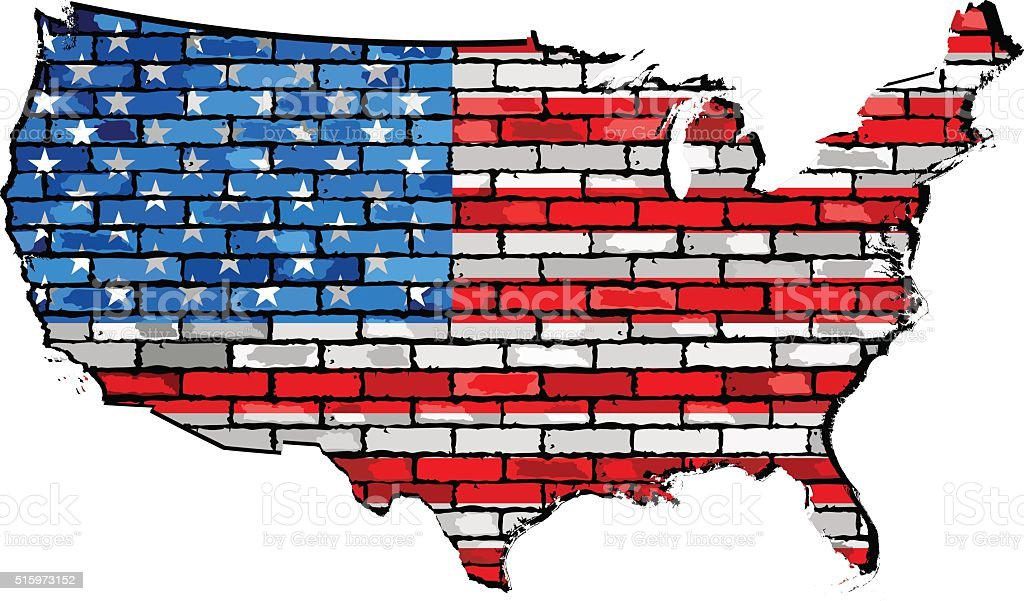 USA map with flag inside vector art illustration