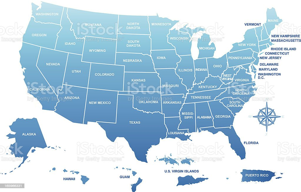 USA map with its territories vector art illustration