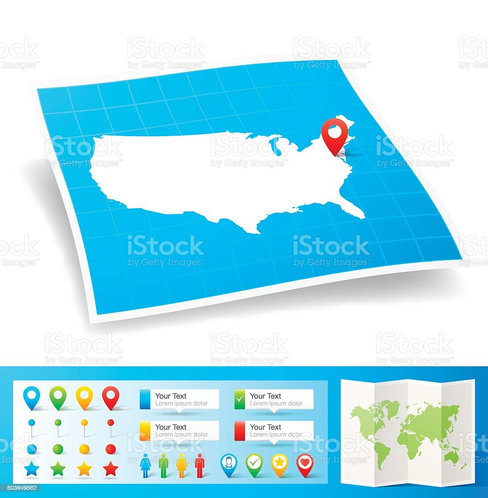 USA Map with location pins isolated on white Background vector art illustration