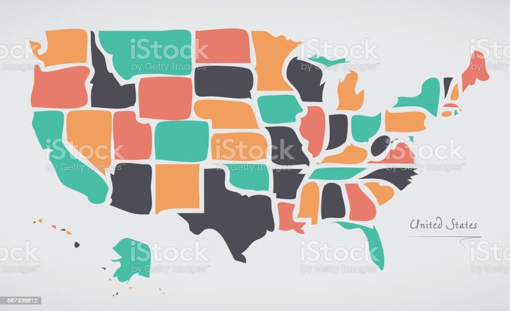 USA Map with modern round shapes vector art illustration