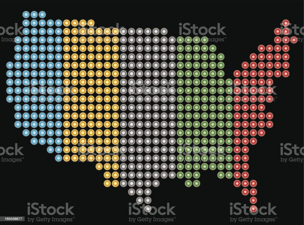 USA LED map with olympic colors royalty-free stock vector art