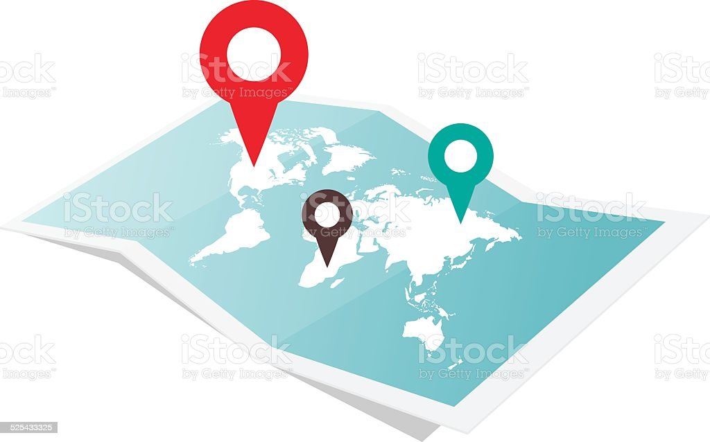 Map With Pin Pointer vector art illustration