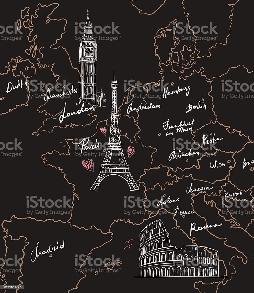 Map with sights of Europe on blackboard vector art illustration