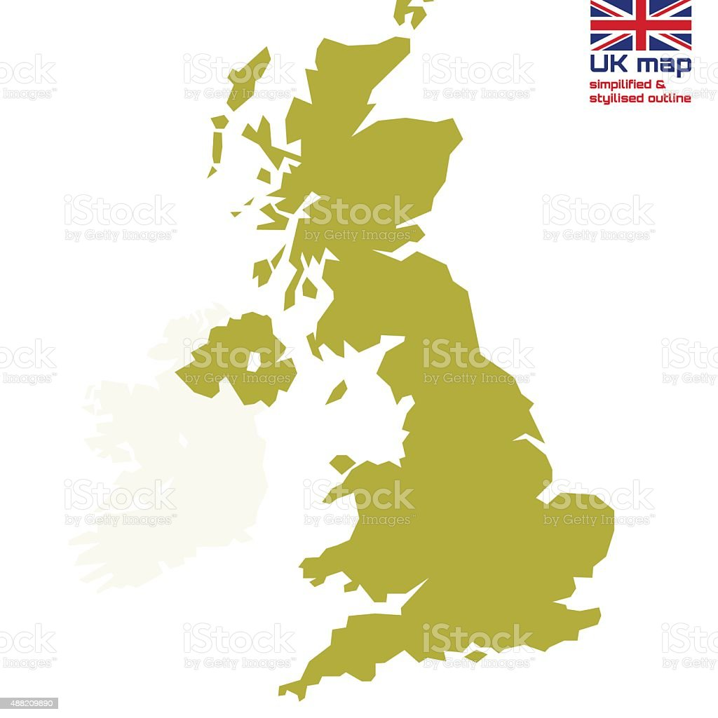 UK map with simplified & stylized outline vector art illustration