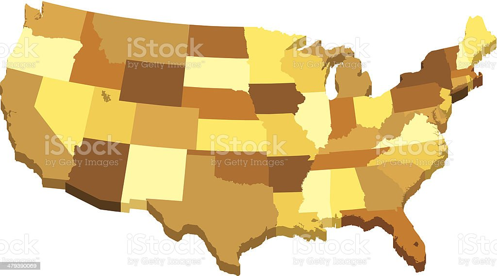 USA 3D map with states in different brown colors royalty-free stock vector art