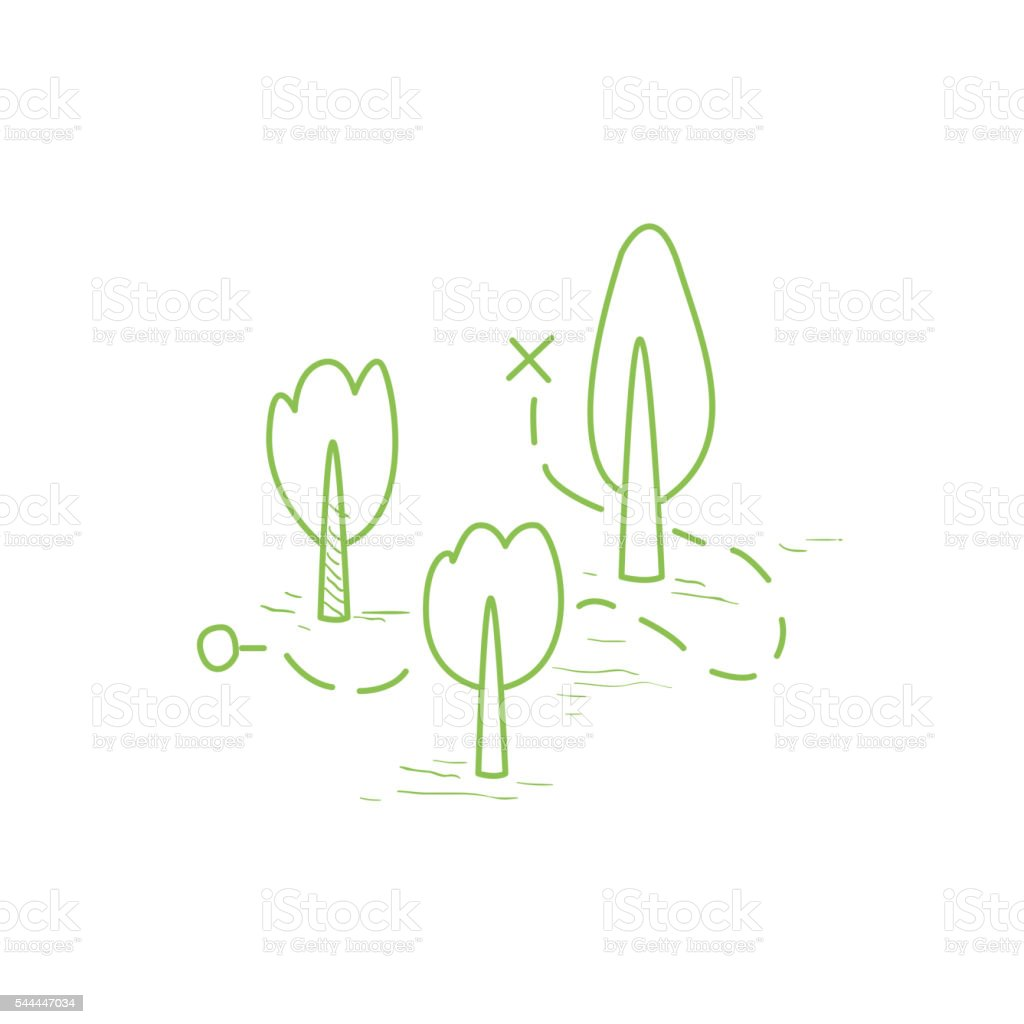 Map With The Route Through The Forest vector art illustration