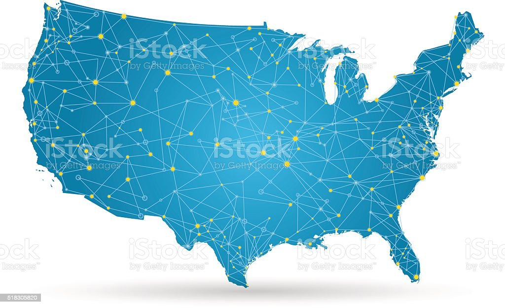 USA map with yellow cities and connections on white background vector art illustration