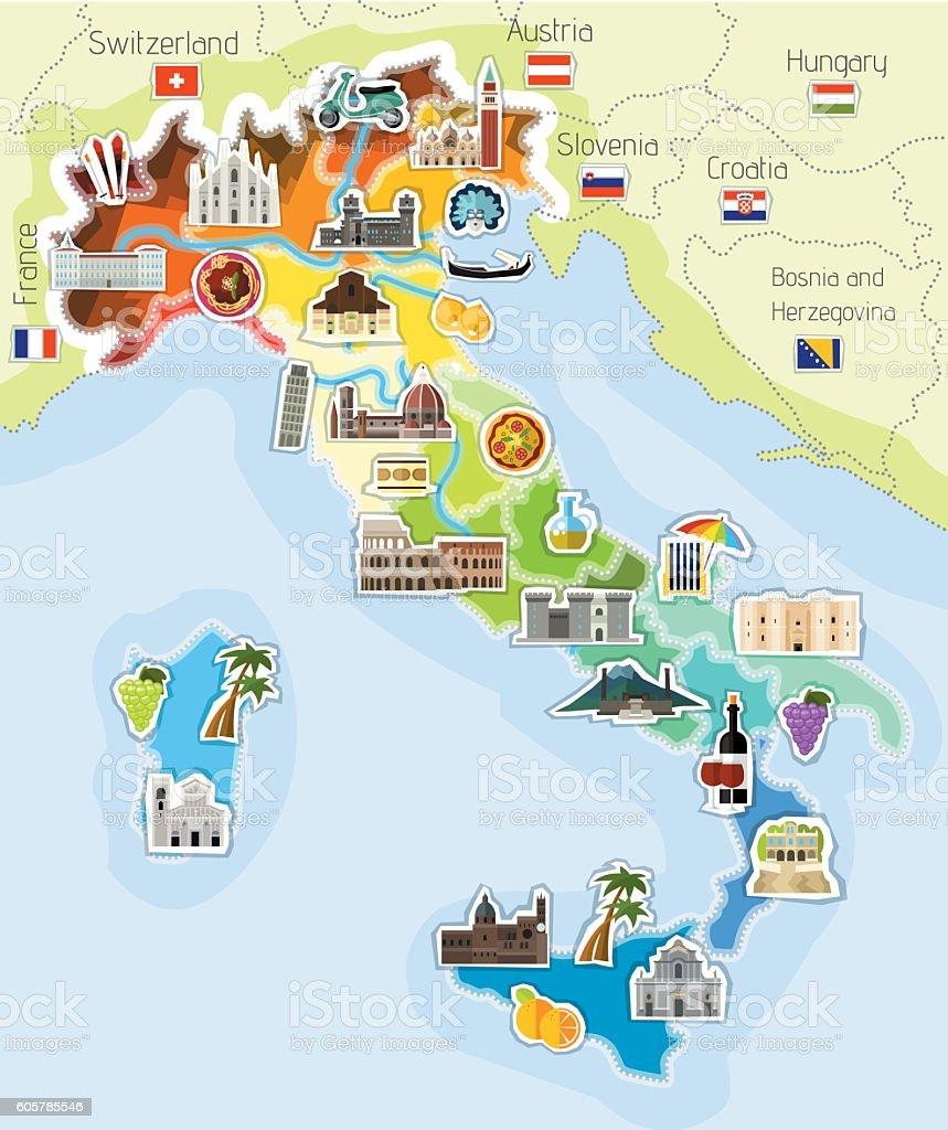 Mapa Włoch vector art illustration