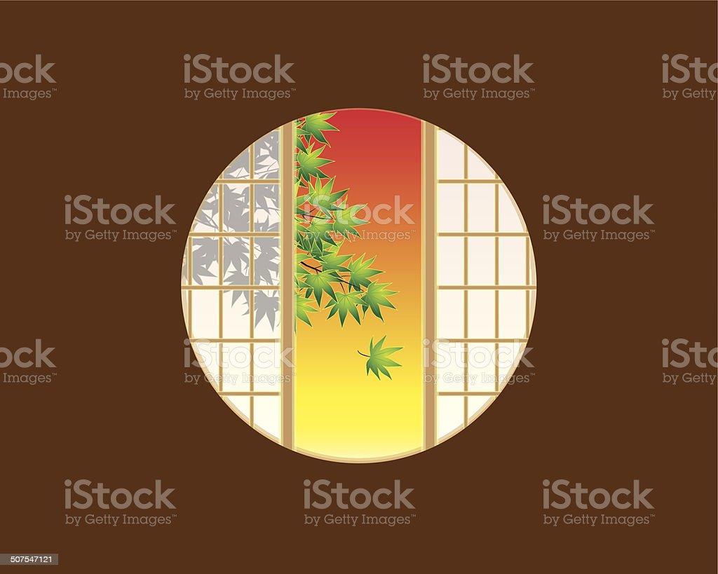 Hublot intérieur de maison témoin maison cloison japonaise coucher de soleil