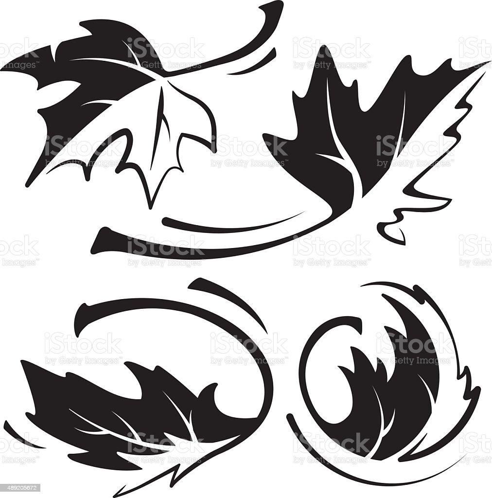 Maple Leaf Black & White vector art illustration